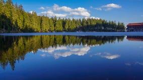在湖天空蔚蓝的森林镜子与云彩 免版税库存照片