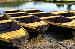 在湖岸停住的小船 免版税库存图片