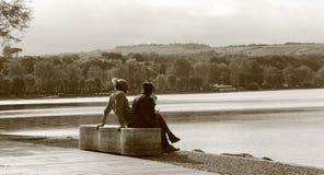 在湖布拉恰诺,意大利的Anguillara 库存图片