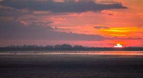 在湖旁边的五颜六色的日落秀丽 免版税库存图片
