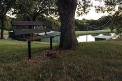 在湖旁边的公园长椅 免版税库存照片