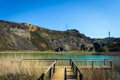 在湖旁边的木人行桥,la arboleda,巴斯克国家 免版税库存照片