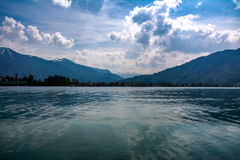 在湖泰根塞的安静,平安的看法在德国 免版税库存图片