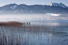 在湖泰根塞,巴伐利亚,德国的冬天 库存图片