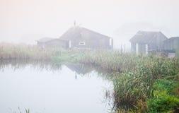 在湖海岸的有雾的早晨,俄罗斯 免版税库存照片