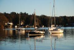 在湖温德米尔的游艇 免版税库存图片