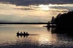 在湖的一条小船 库存照片