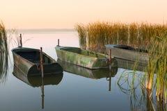 在湖的三条小船 库存照片