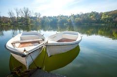 在湖的两条小船 图库摄影