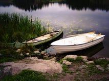 在湖的两条小船 免版税库存图片