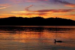 在湖的五颜六色的日落 库存图片