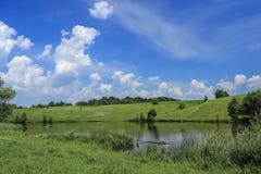 在湖的五颜六色的树有反射的 库存照片