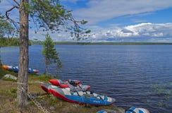 在湖的体育筏 库存图片