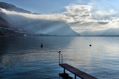 在湖的偏僻的码头 库存图片