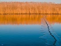 在湖的冰裂缝 免版税库存图片
