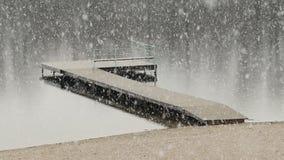 在湖的厚实的降雪 股票视频