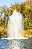 在湖的喷泉在基辅,乌克兰附近的风景公园Mezhigirya 免版税图库摄影