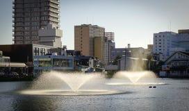 在湖的喷泉在秋田,日本 免版税图库摄影