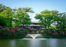 在湖的喷泉在秋田,日本 库存图片