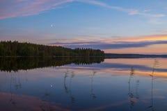 在湖的夏夜风景 免版税库存图片