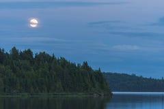 在湖的夏天晚上 免版税图库摄影