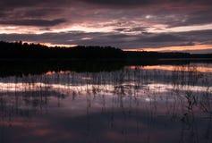 在湖的夜间 库存照片