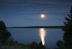 在湖的夜间 库存图片