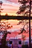 在湖的夜间 免版税库存照片