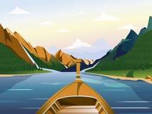 在湖的小船在与森林的一个多山区域导航例证 皇族释放例证