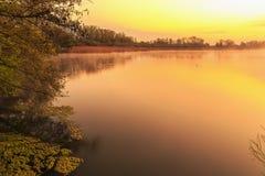 在湖的平静的日出 免版税库存照片