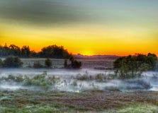 在湖的日出雾 库存照片