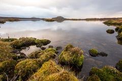 在湖的日落在南冰岛欧洲 库存照片