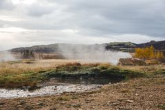 在湖的日落在南冰岛欧洲 免版税库存图片