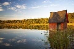 在湖的日落在秋天 库存照片