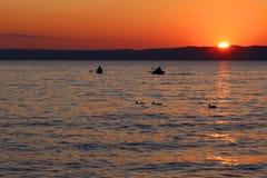 在湖的日落有小船和鸭子的 库存图片