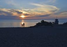 在湖的日落视图 免版税图库摄影