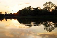 在湖的日落 在水反映的结构树 在Th的晚上 免版税库存照片