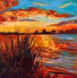 在湖的日落 免版税库存照片