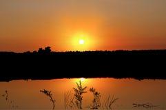 在湖的日落 皇族释放例证