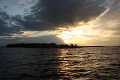 在湖的日落 库存照片