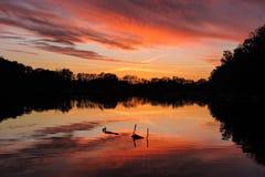 在湖的明亮的被反射的日落 免版税库存图片