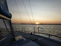 在湖的晚上, Masuria,波兰 图库摄影