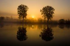 在湖的有雾的早晨 免版税图库摄影