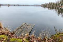 在湖的木码头和与叶子、青苔和草的河沿在秋天 库存图片