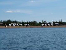 在湖的照片旅游阵营 免版税图库摄影