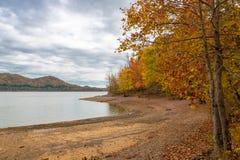 在湖的秋天季节有美丽的森林的在阴暗天 库存照片
