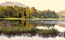 在湖的秋天早晨 库存照片