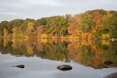 在湖的秋天颜色 免版税库存照片