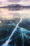在湖的美丽的冰日落的 免版税库存照片