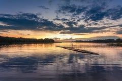 在湖的美妙的日落有动态天空的在夏天 图库摄影